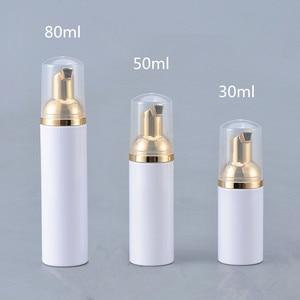 Image 1 - 12 X  30ML 50ML 80ML Cosmetic Facial Cleanser Wash Cream Plastic PET White Liquid Soap Foam Bottle with Golden Foamer Pump
