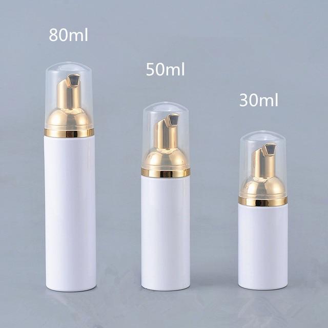 12 X  30ML 50ML 80ML Cosmetic Facial Cleanser Wash Cream Plastic PET White Liquid Soap Foam Bottle with Golden Foamer Pump