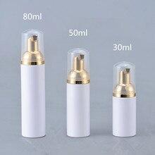 12X30 ML 50 ML 80 ML Kozmetik Yüz Temizleyici Yıkama Kremi Plastik PET Beyaz Sıvı Sabun ile köpük şişesi altın Köpürtücü Pompa