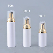 12X30 ML 50 ML 80 ML Mỹ Phẩm Sữa Rửa Mặt Kem Rửa Nhựa PET Chất Lỏng Màu Trắng Xà Phòng Bọt Chai với Vàng Foamer Bơm