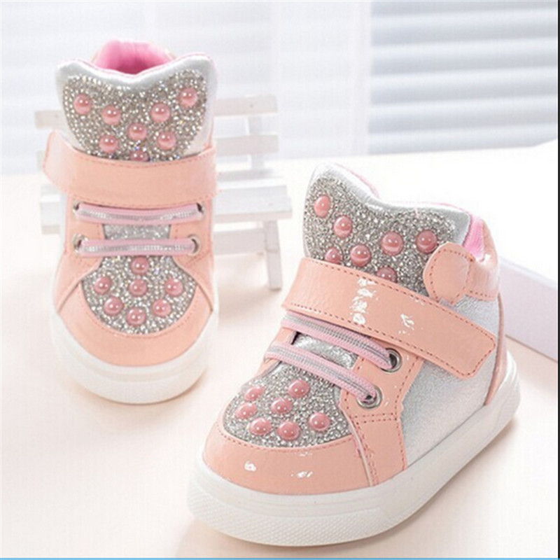 Children Sneakers 2017 New Kids Childrens Shoes Girls Boys Baby Ankle Boots Rhinestone Sequins Sneakers Sports Shoes Toddler