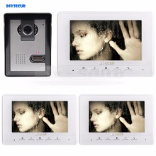 DIYSECUR 800 x 480 7inch Video Intercom Video Door Phone 1 Camera 3 Monitors for Home / Office Security System White