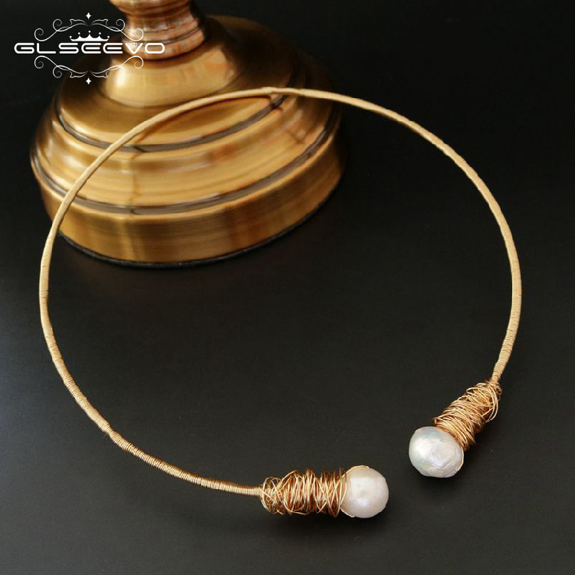 GLSEEVO Natural Fresh Water Baroque Pearl Chokers Necklace For Women Necklaces Luxury Fine Jewelry Collar Hombre Colar GN0048 glseevo natural fresh water pearl chokers necklace for women handmade necklaces luxury fine jewelry gargantilha kolye gn0047