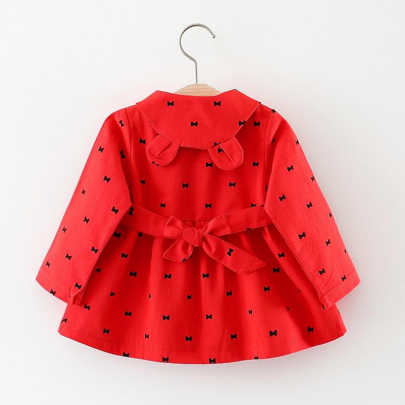 От 1 до 3 лет куртки для маленьких девочек 2018 Демисезонный в горошек хлопковое пальто ветровка для верхняя одежда для девочек, куртка Дети По...