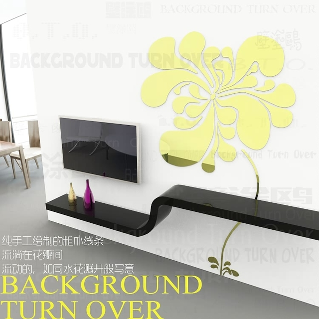 Various colors DIY TV background elegant blooming flower 3d sticker ...