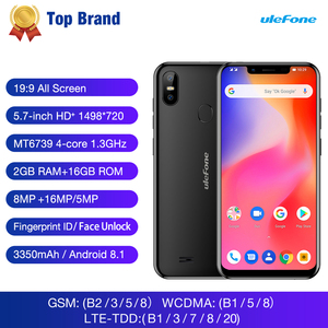 Image 2 - Ulefone S10 Pro Mobile Phone Android 8.1 5.7 inch MT6739WA Quad Core 2GB RAM 16GB ROM 16MP+5MP Rear Dual Camera 4G Smartphone