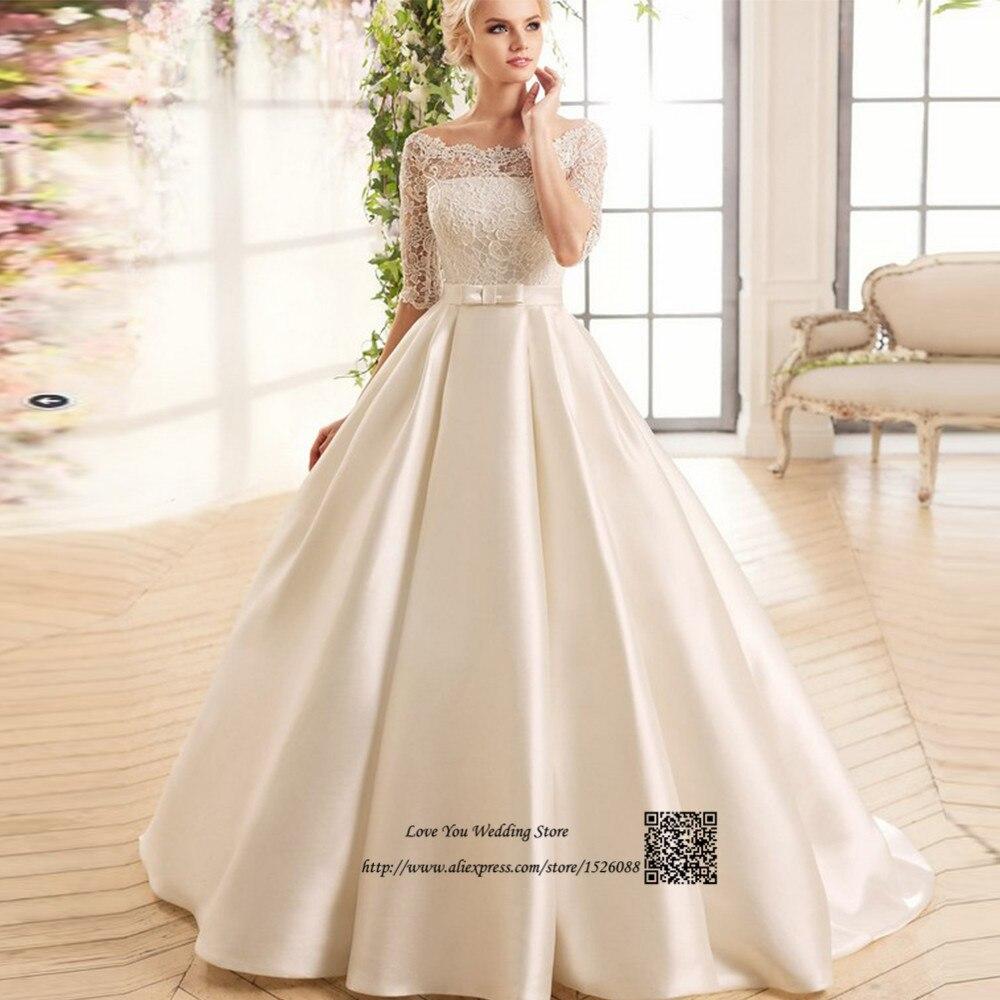 Vestido de Noiva Cetim 2017 Vintage Boho Wedding Dress China Ball Gown Bridal Dresses Lace Wedding