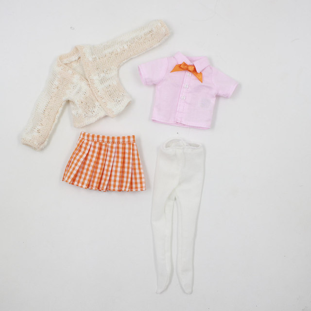 Blyth Accessiories Clothes suitable only for 1/4 BJD Pink Shirt with Plaid Skirt and Sweater Free Shipping