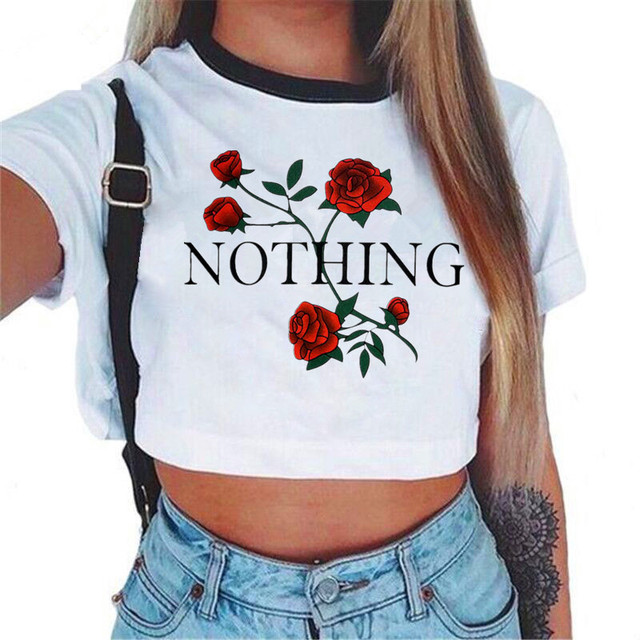Women's VOGUE Letter Crop Top Short Sleeve T Shirts