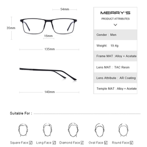 Image 4 - MERRYS Men Square Ultralight Titanium Alloy Optical Glasses Frame Male Eye Myopia Prescription Eyeglasses TR90 Nose Pads S2036
