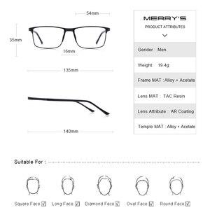 Image 4 - MERRYS גברים כיכר Ultralight טיטניום סגסוגת אופטי משקפיים מסגרת זכר עין קוצר ראיה מרשם משקפיים TR90 האף רפידות S2036