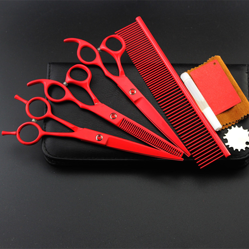 4 kit Upscale japan red pet 7 inch shears cutting hair scissors dog grooming clipper pets thinning barber hairdressing scissors purple dragon 7 inch pink black thinning pet shears dog hair scissors clipper for dogs professional grooming tool for dog cat
