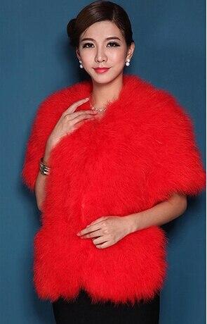 Женская Роскошная шаль из натурального страусиного пера, шаль из пашмины, свадебная шаль, Модный меховой палантин, роскошный шаль, PC15052301 - Цвет: red