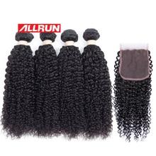 Allrun Peruvian Kinky Curly 4 Pcs Human Hair Bundles with 4*4 Lace Closure Non-remy Hair Weave Natural Color 5 Pcs/lot