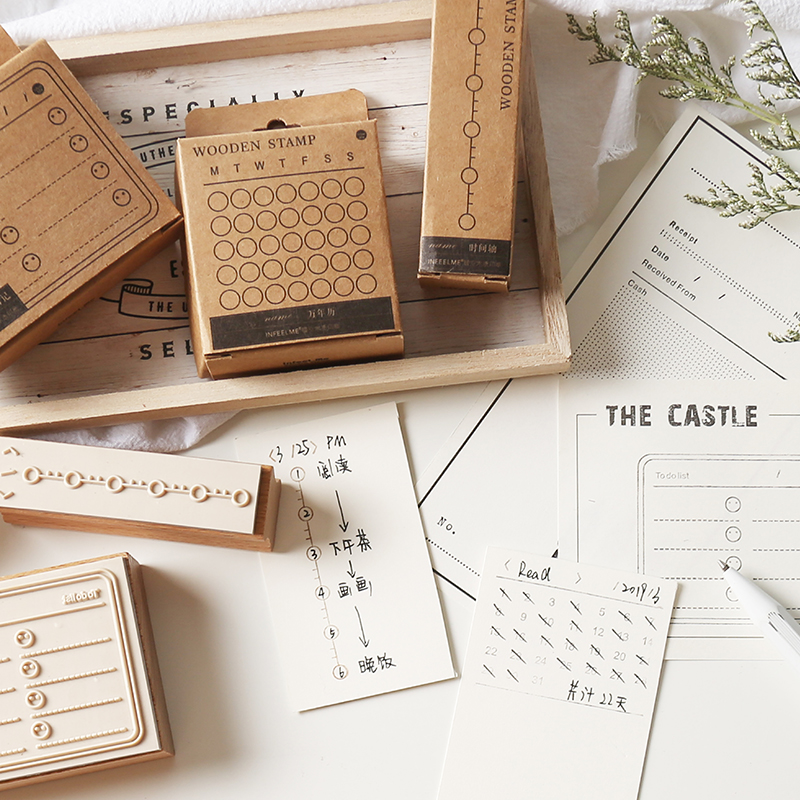 XINAHER 1PC Vintage Multi-function Form Stamp DIY Wooden Rubber Stamps For Scrapbooking Stationery Scrapbooking Standard Stamp