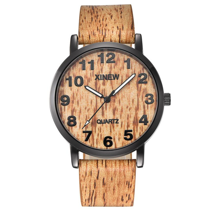 Men's Watches Wood Leather-Band Quartz Relogio Masculino 40 Texture Imitation Retro Analog