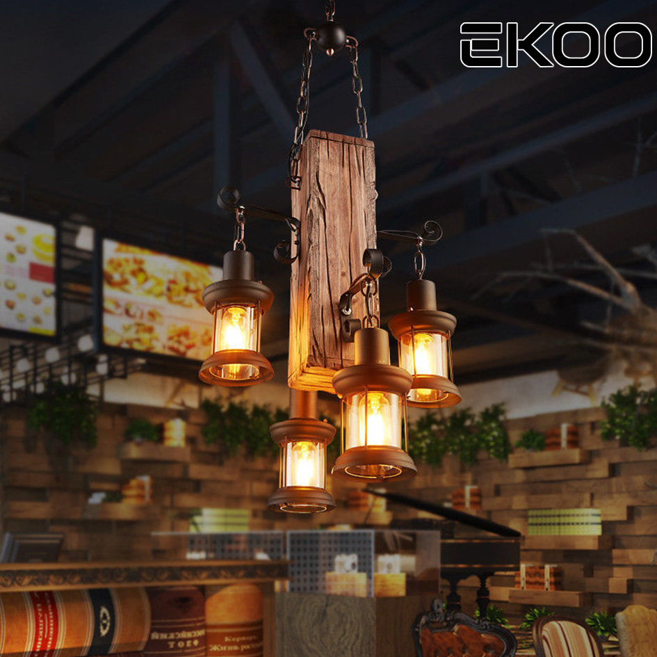 Ekoo 4 Heads Wood Chandelier Iron Lamp Rustic Light For Restaurant Bar Living Room And More