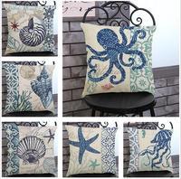 Linen cotton Marine shell series Cushion cover home-decor-pillow case Home textile capas para almofadas