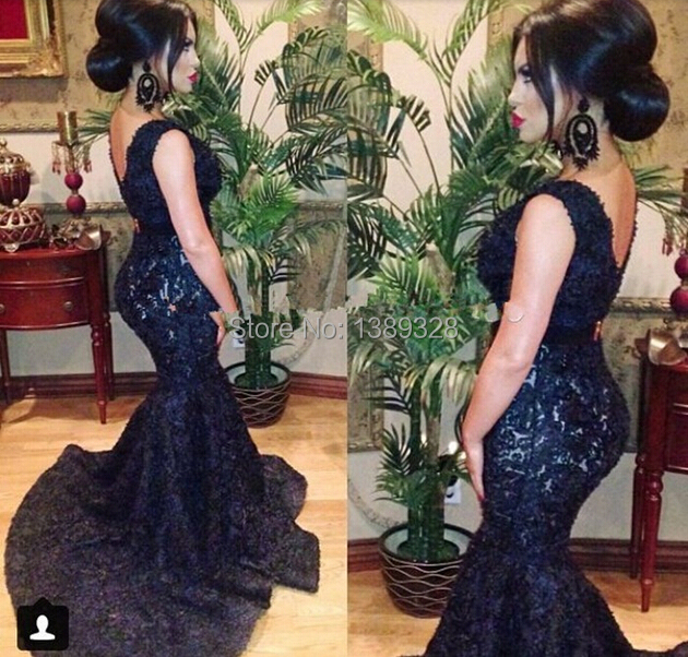 Sexy Black Mermaid   Prom     Dresses   2018 vestidos de festa V Neck Open Back Evening Gowns With Train Women For Party