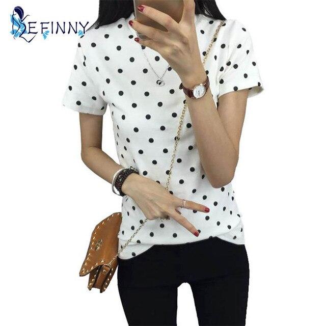 Летняя женская Футболка Полька Черный Пунктирные Одежда Рубашка О-Образным Вырезом Короткие Топы Основывая Топы