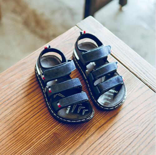 Summer Genuine Leather male Childrens sandals genuine leather shoes Kids beach shoes Boys fashion sandals Casual flat sandals