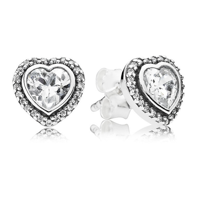 100 925 Sterling Silver Crystal Branded Earrings For Women Forever Love Heart Earring Studs Fine Original Europe Jewelry Gift in Stud Earrings from Jewelry Accessories