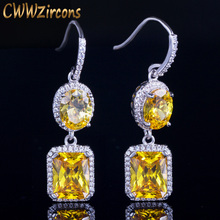 CWWZircons High Quality Gorgeous Dangle Yellow Cubic Zirconia Stone Hook Drop Hanging Earrings for Women Fashion Jewelry CZ403