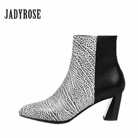 Jady Rose Fashion 2019 Women High Heel Shoes Pointed Toe Short Ankle Boots Leather Pumps Striped Shoes Women Mixed Colors Boots