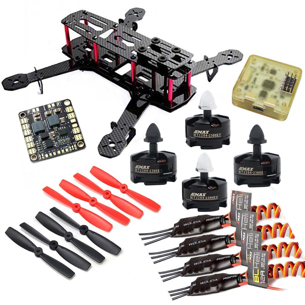 QAV250 Carbon Quadcopter MT2204 2300KV Motor BLHeli 12A ESC CC3D FC 5045 Props High Quality qav250 carbon quadcopter mt2204 2300kv motor simonk 12a esc cc3d fc 5045 props