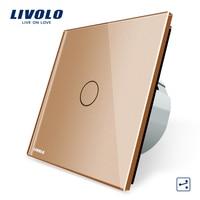 Livolo EU Standard Wall Switch 2 Way Control Switch Golden Crystal Glass Panel Wall Light Touch