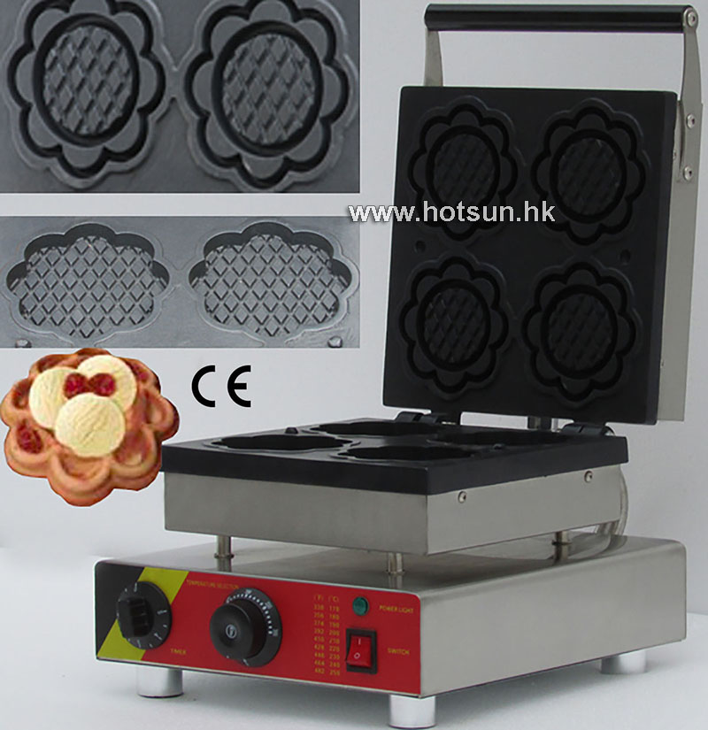 Free Shipping Electric 110V 220V Nonstick Commercial 4pcs Blossom Ice Cream Waffle Bowl Maker Iron Mold Plate Machine Baker mt 250 italiano pasta maker mold ice cream makers 220v 110v 250ml capacity ice cream makers fancy ice cream embossing machine