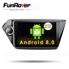 FUNROVER 2din Android 8.0 car dvd radio for Kia k2 rio 2010 2011 2012 2013 2014 2015 car gps navigation multimedia player stereo