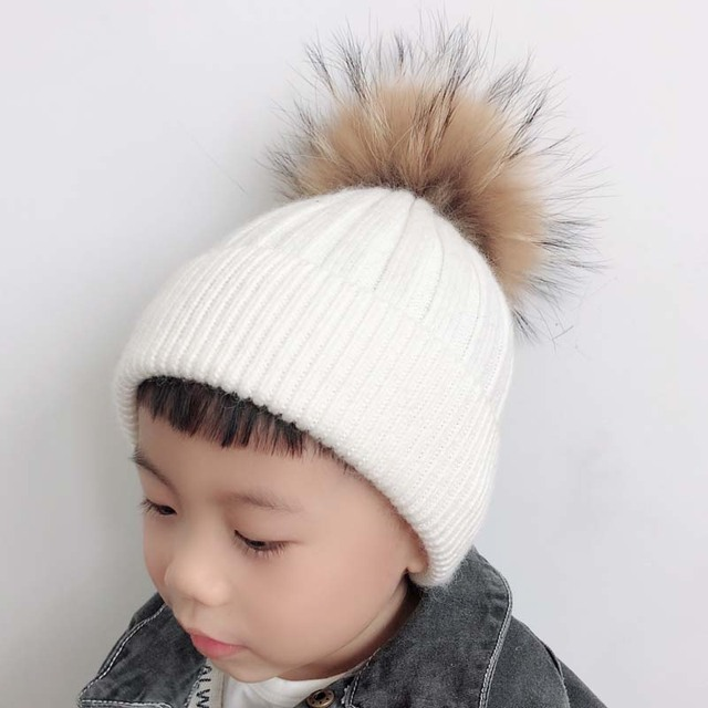 Soft Warm Knitted Winter Baby Hat Children Cashmere Wool Beanie Cap Real  Fur Pom pom Hat For Kids girls 1ff3cf655d3