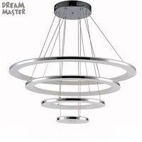 New D20 D40 D60 D80cm 4 rings LED chandelier acrylic large modern chandeliers lampadari led lustres lampadari moderni lamp