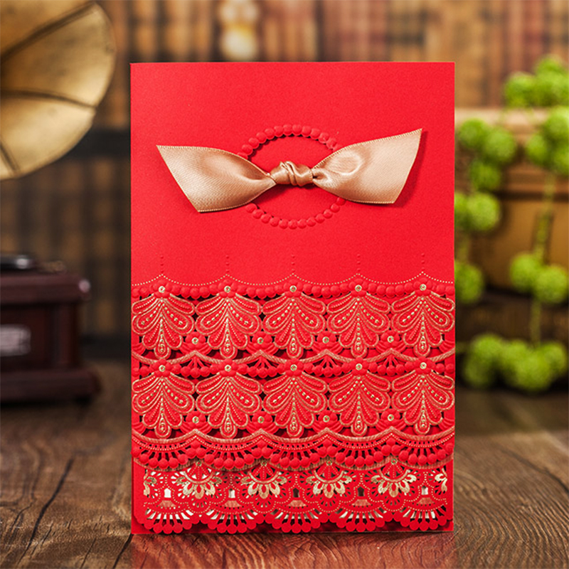 2017 Pattern Design Laser Cut Red Invitations For Wedding Blank Paper Invitations Cards Ribbons Bow Decorations Free Print colorful white ribbons bow laser cut wedding invitations set blank paper insert romantic printing invitation cards kit