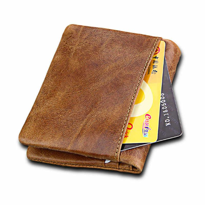 Bisi Goro 2019 винтажный кошелек в деловом стиле для мужчин из натуральной кожи Crazy Horse, держатель для карт, повседневные карманные кошельки на молнии для мужчин
