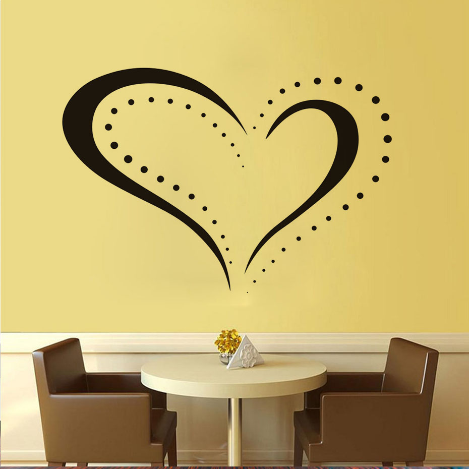 New Arrival Dotted Heart Shape Outline Removable Decal Home Decor ...