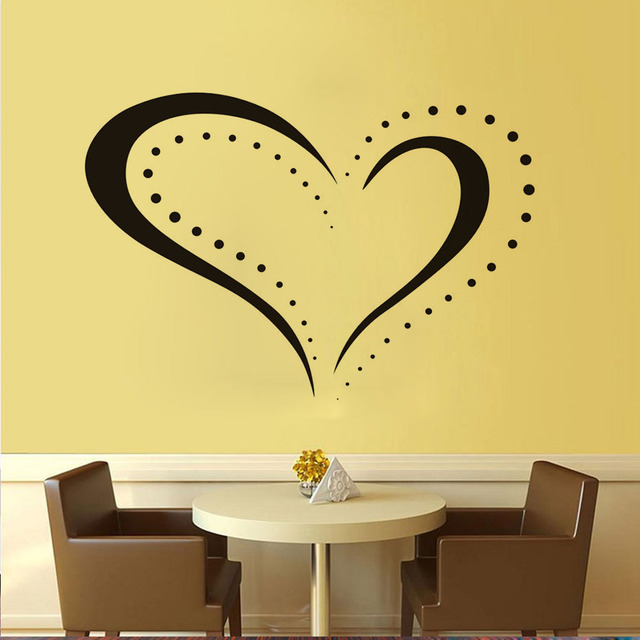 New Arrival Dotted Heart Shape Outline Removable Decal Home Decor