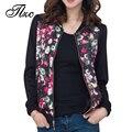 TLZC Весна Осень Женская Мода Куртки Вскользь Пальто Плюс Размер L-4XL Цветы Отпечатано Леди Свободные Пиджаки Черный