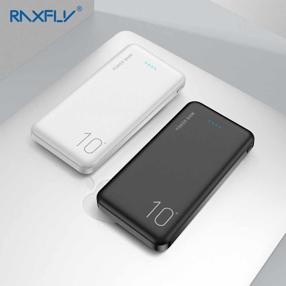 RAXFLY 10000mAh Power Bank For iPhone Xiaomi Bateria Externa Powerbank USB Dual Output Portable Charger Ultra Thin Poverbank
