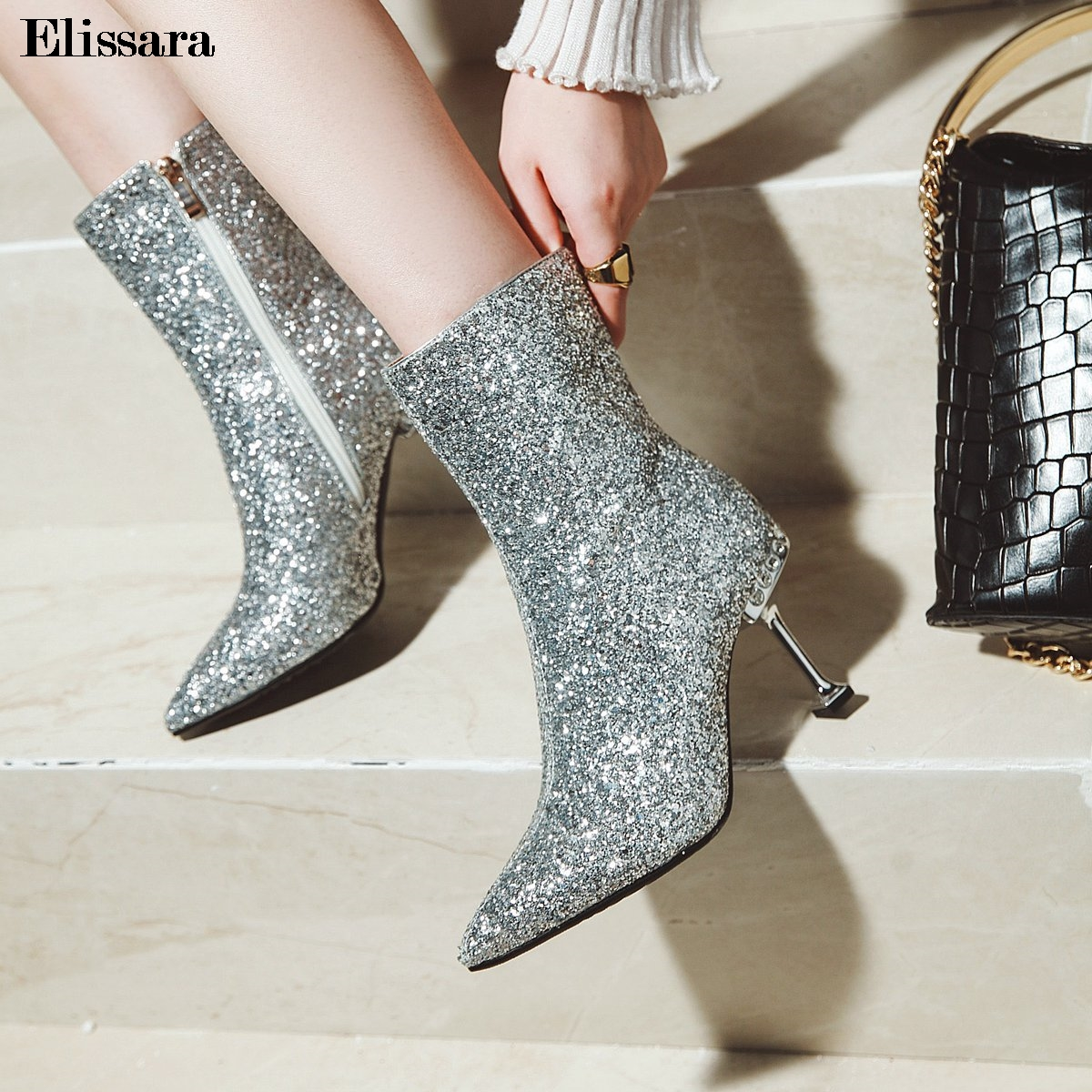 Women High Heels Ankle Boots Shoes Woman Glitter Bling Zip Pointed Toe Party Ankle Boots Shoes Size 33-43 Elissara elissara women ankle boots women high heels boots ladies zip high quality denim pointed toe shoes plus size 33 43
