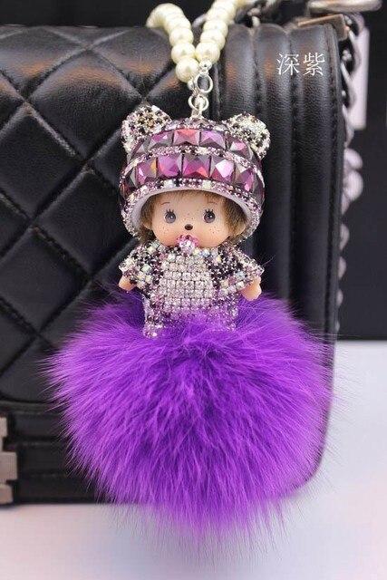 New cubre llaves keys Monchhichi fluffy keychain 8 CM crystal fox fur ball key chain porta chiavi rhinestone keychains llaveros