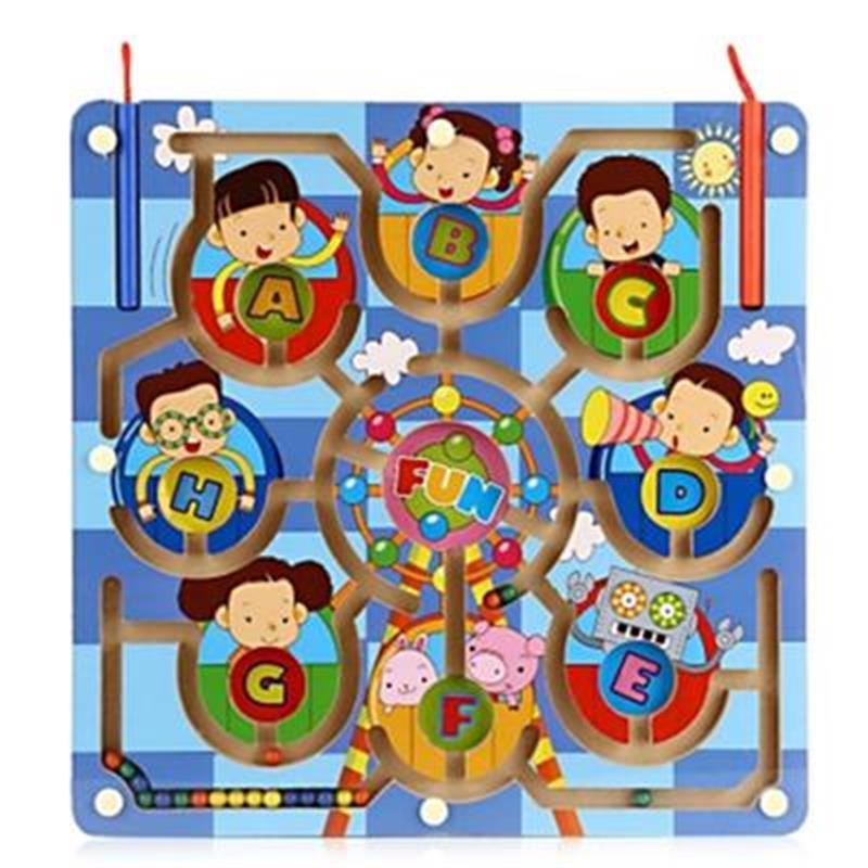 Developmental Learning Intellectual Game Child Wooden Ferris Wheel Magnetic Pen Labyrinth Puzzle Toy Children Gift Interactive