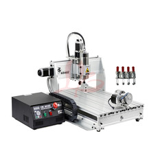 цена на cnc cutting machine 4axis 6040Z-USB 2.2KW spindle with mach3 remote control  free tax to EU