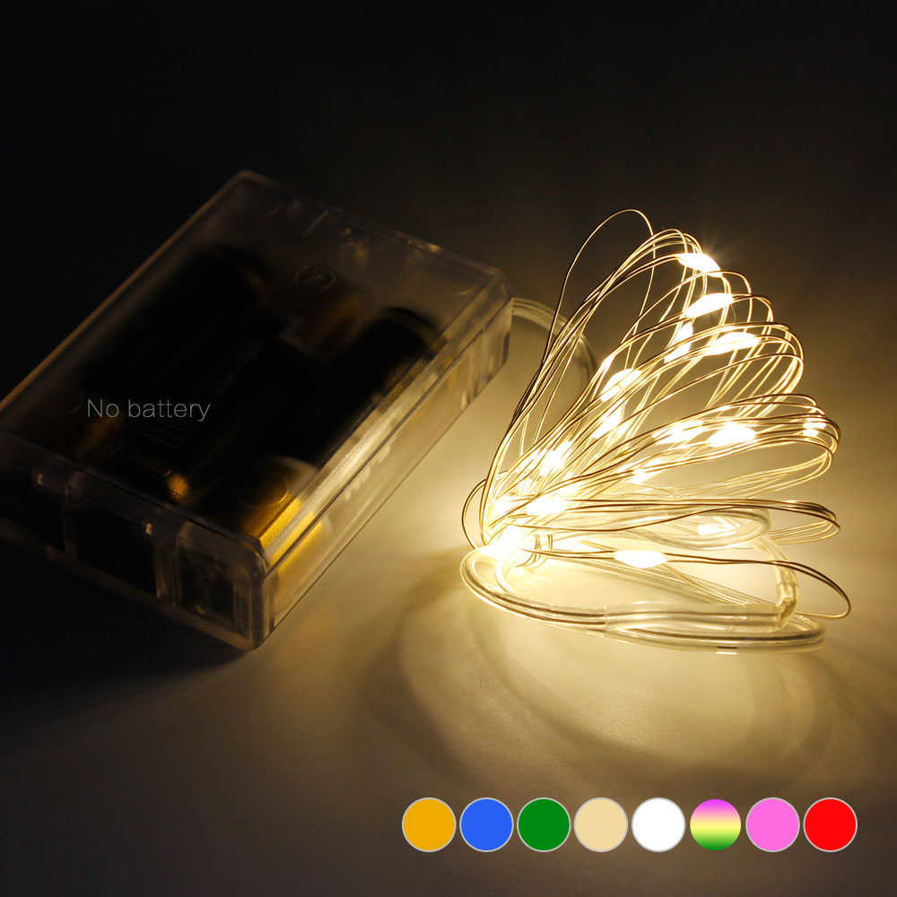 2M 5M 10M LED Silver Wire String Lights For Christmas Festival Wedding Party Holiday Decoration Garland Waterproof Battery Strip
