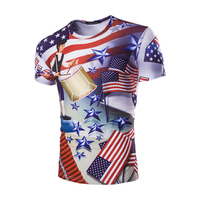 New 2017 summer men's T-shirt Personality print (Independence Day) pattern casual O-Neck men short sleeved Fancy slim t shirt