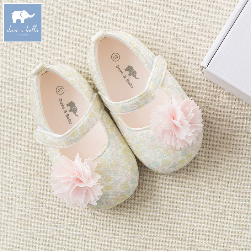 DB6739 Dave Bella baby girls soft first walkers baby floral first-step shoes
