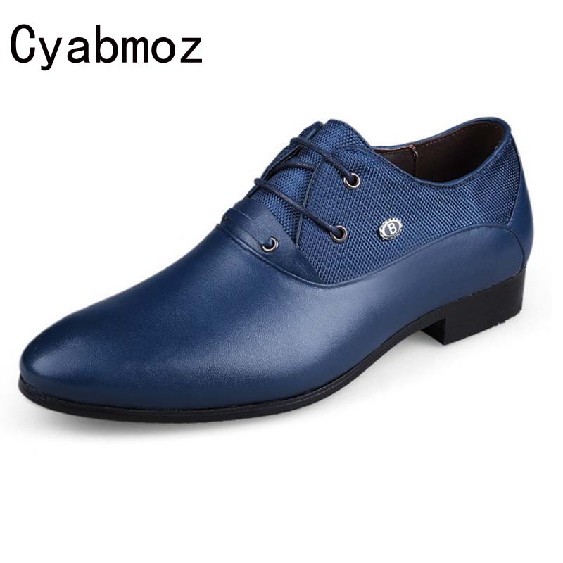 New fashion high quality autumn mens genuine leather Pointed Toe High heels Men Shoes Business Height Increasing Shoes Casual
