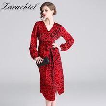 588a8419d0 Vintage Red Leopard Print Dress Women Sexy V-Neck Long Lantern Sleeve Belt  Bandage Wrap