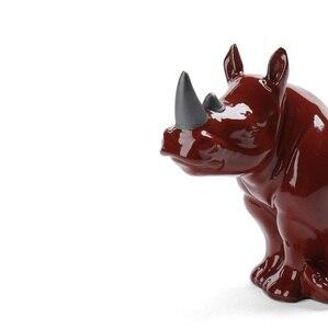 Image 3 - Фарфоровая фигурка носорога, миниатюрная Керамика ручной работы, Фигурка Носорога, Африканские Дикие животные, ремесло, украшение для дома, художественная коллекция